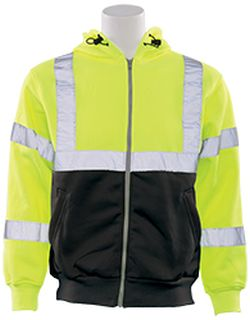 62986 W375B Class 3 Hooded Zip front Sweatshirt Hi Viz Lime & Black LG-ERB Safety