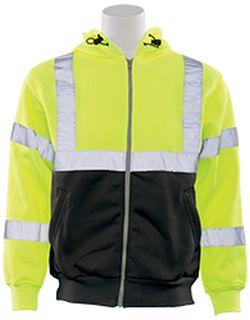 62987 W375B Class 3 Hooded Zip front Sweatshirt Hi Viz Lime & Black XL-