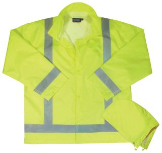 63007 S373D Class 3 Lightweight Oversized Raincoat Hi Viz Lime MD LG-