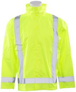63010 S373D Class 3 Lightweight Oversized Raincoat Hi Viz Lime 5X 6X-
