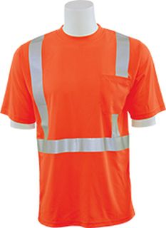 63041 9006ST Tall Class 2 Short Sleeve with Reflective Tape Birdseye Knit Mesh Hi Viz Orange MD-