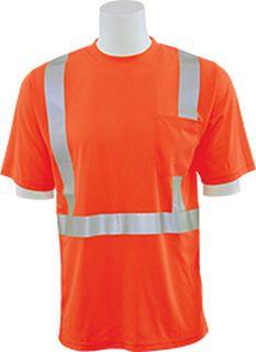 63046 9006ST Tall Class 2 Short Sleeve with Reflective Tape Birdseye Knit Mesh Hi Viz Orange 4X-