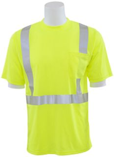 63049 9006ST Tall Class 2 Short Sleeve with Reflective Tape Birdseye Knit Mesh Hi Viz Lime LG-