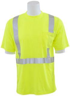 63050 9006ST Tall Class 2 Short Sleeve with Reflective Tape Birdseye Knit Mesh Hi Viz Lime XL-