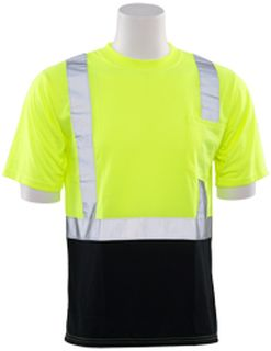63308 9604S Short Sleeve Black Bottom T Shirt Hi Viz Lime LG-