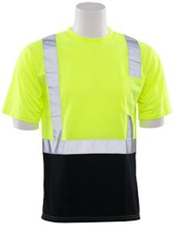 63310 9604S Short Sleeve Black Bottom T Shirt Hi Viz Lime 2X-