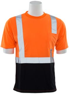 63321 9604S Short Sleeve Black Bottom T Shirt Hi Viz Orange 5X-