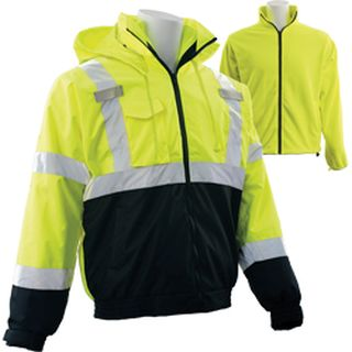 63347 W530B Class 3 3 in 1 Black Bottom Bomber Jacket with Removable Fleece Liner Hi Viz Lime & Black-