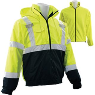 63348 W530B Class 3 3 in 1 Black Bottom Bomber Jacket with Removable Fleece Liner Hi Viz Lime & Black-