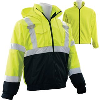 63351 W530B Class 3 3 in 1 Black Bottom Bomber Jacket with Removable Fleece Liner Hi Viz Lime & Black-