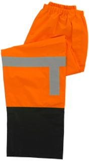 63523 S373PTB Class E Lightweight Rain Pants Hi Viz Orange Black Bottom XL-