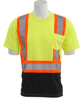 63601 9604SBC Class 2 Short Sleeve Black Bottom Contrasting Trim T Shirt Hi Viz Lime LG-