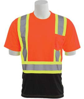 63608 9604SBC Class 2 Short Sleeve Black Bottom Contrasting Trim T Shirt Hi Viz Orange LG-