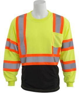 63617 9804SBC Class 3 Black Bottom Contrasting Trim Jersey Knit Long Sleeve T Shirt Hi Viz Lime 2X-