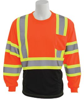 63621 9804SBC Class 3 Black Bottom Contrasting Trim Jersey Knit Long Sleeve T Shirt Hi Viz Orange MD-