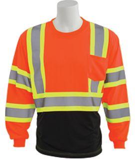 63624 9804SBC Class 3 Black Bottom Contrasting Trim Jersey Knit Long Sleeve T Shirt Hi Viz Orange 2X-