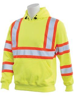 63630 W376C Class 3 Contrasting Trim Polyester Fleece Hooded Pullover Sweatshirt Hi Viz Lime XL-ERB Safety