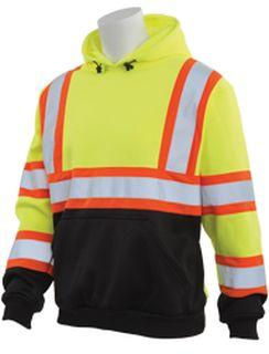 63637 W376BC Class 3 Black Bottom Contrasting Trim Polyester Fleece Hooded Pullover Sweatshirt Hi Viz Lime XL-