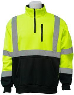 63871 W379B Class 3 1/4 zip pullover Hi Viz Lime LG-