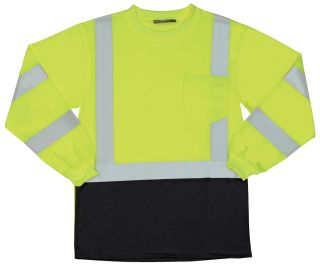 64034 9804S Class 3 Long Sleeve Black Bottom T Shirt Hi Viz Lime MD-
