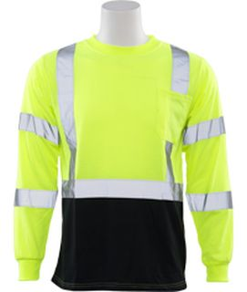 64037 9804S Class 2 Long Sleeve Black Bottom T Shirt Hi Viz Lime 2X-