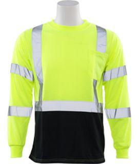 64038 9804S Class 3 Long Sleeve Black Bottom T Shirt Hi Viz Lime 3X-