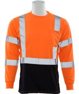 64045 9804S Class 3 Long Sleeve Black Bottom T Shirt Hi Viz Orange 2X-