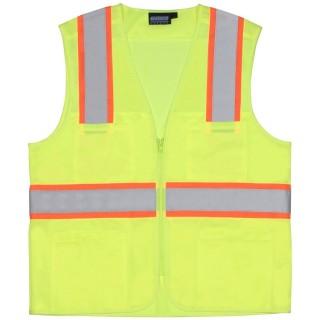 ANSI Class 2 Vest Tricot & Mesh Hi-Viz Lime - Zipper
