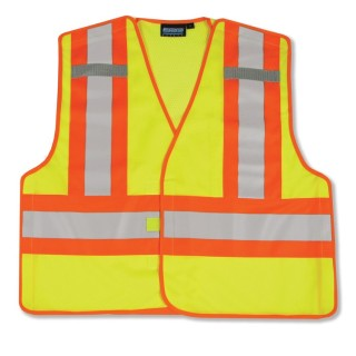 ANSI 207 PSV Vest Mesh Break-Away Hi-Viz Lime W/Contrasting Trim - Hook & Loop