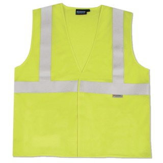 ANSI Class 2 Vest Flame Resistant Knit Tricot Hi-Viz Lime - Hook & Loop