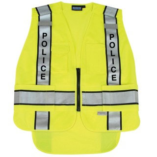 ANSI 207 PSV Vest Knit Tricot Break-Away Hi-Viz Lime - Zipper Extended Tail
