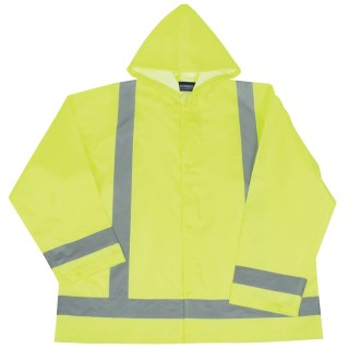 ANSI Class 3 Lightweight Oversized Raincoat Woven Oxford PU Coating 5.5mm