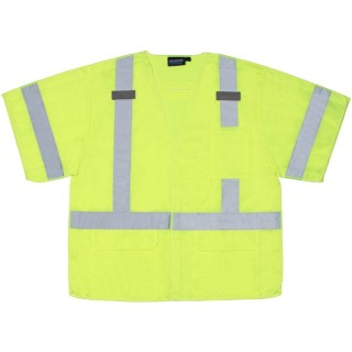 ANSI Class 3 Vest Tricot Break-Away Hi-Viz Lime - Hook & Loop