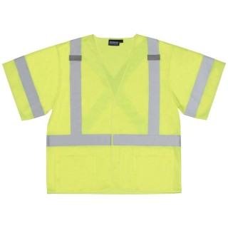 ANSI Class 3 Vest Tricot X Back Hi-Viz Lime - Hook & Loop