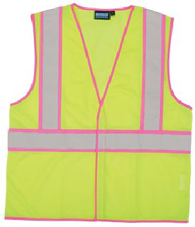 ANSI Class 2 Unisex Vest Mesh Hi-Viz Lime with Pink Trim - Hook/Loop