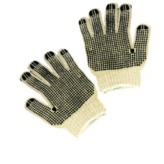 PVC Dotted 2 Sided String- Natural- Cotton/Poly Blend Gloves