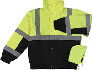 ANSI Class 2 Bomber Jacket Woven Oxford PU Coating Fleece Liner