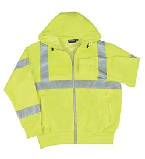 ANSI Class 3 Hooded Sweatshirt 7oz Polyester Fleece Hi-Viz Lime - Zipper