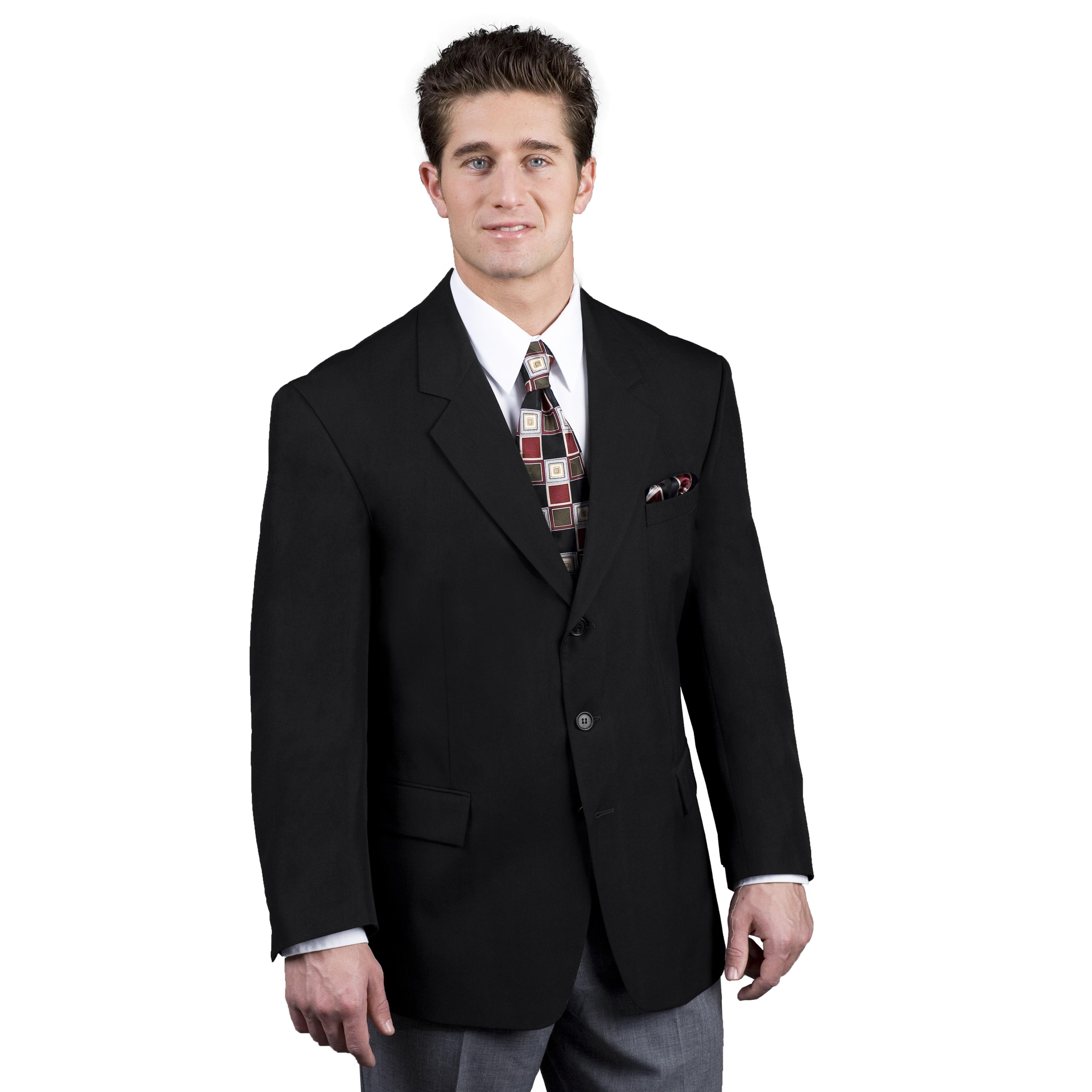 Mens 3-Button Easywear Blazer-Easywear Polywool