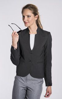 Ladies 2 Button Stand Up Collar Blazer