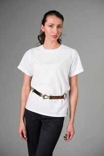 Ladies Short-Sleeve Jewel Neck Blouse-