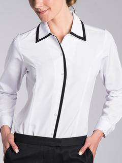 Color Block Contrast Trim Blouse - Long Sleeve-The Better Blouses Collection