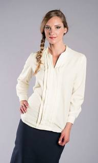 Collarless Pleated Front Blouse