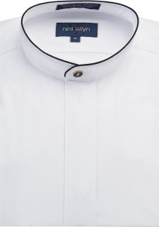 Men's White w/Black Trim Banded Shirt-Fabian Couture Group International