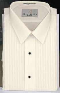 "Men's Ivory 1/4"" Pleat Laydown Tuxedo Shirt-"