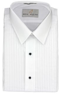 "Men's White 1/4"" Pleat Laydown Tuxedo Shirt-"