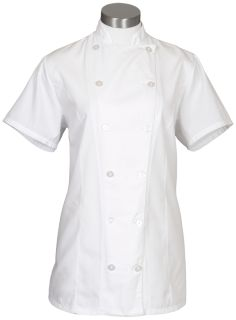 12 Button Female Fitted Short Sleeve Chef Coat-Fame Fabrics