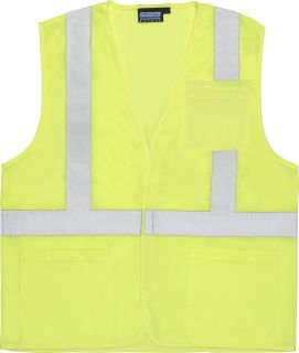 ANSI Class 2 Vest Mesh Economy Hi-Viz w/Pockets - Hook & Loop