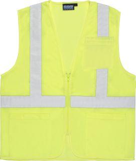 ANSI Class 2 Vest Mesh Economy Hi-Viz w/Pockets- Zipper