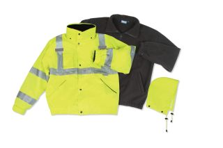 ANSI Class 3 Bomber Jacket Woven Oxford w/Breathable PU Coating with Removable Fleece Liner Hi-Viz